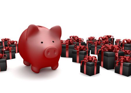 cartons: Red piggy bank with black gift cartons on the white. 3d illustration. Stock Photo