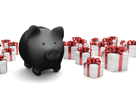 cartons: Black piggy bank with white gift cartons on the white. 3d illustration.  Stock Photo