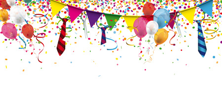 festoons: Header with confetti, festoons, ties and balloons for german carnival. Eps 10 vector file. Illustration