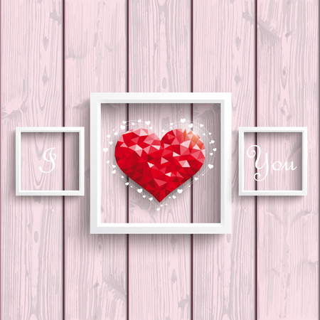 mothering: Low poly heart with frames on the wooden backround.. Eps 10 vector file. Illustration