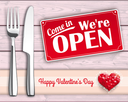 dinner date: Knife and fork with lowpoly heart and sign on the wooden background. Eps 10 vector file. Illustration