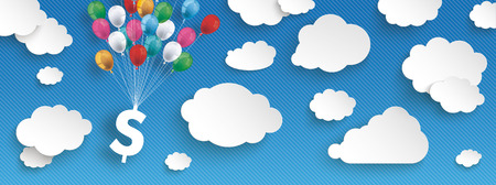 Paper clouds and hanging dollar  with colored balloons on the blue background.