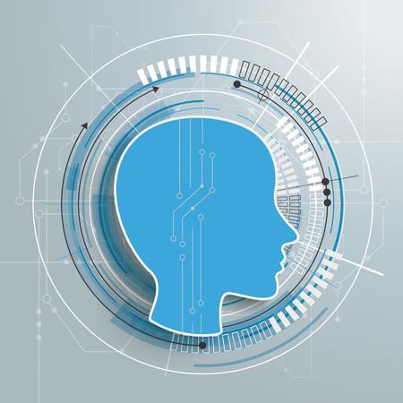 Futuristische menselijke kop met elektronische schematische op de grijze achtergrond.