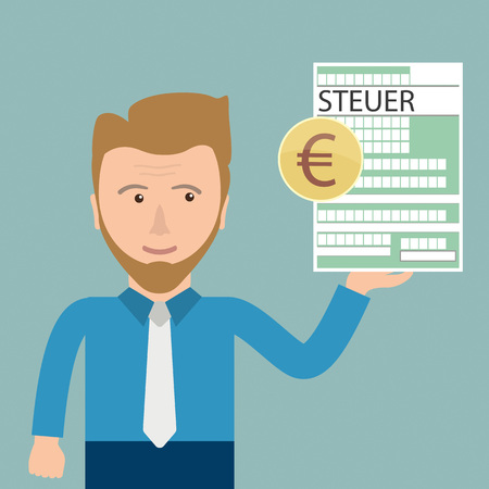 taxman: German text Steuer, translate Tax.