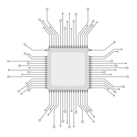 Futuristic processor with electronic schematicon the gray background.