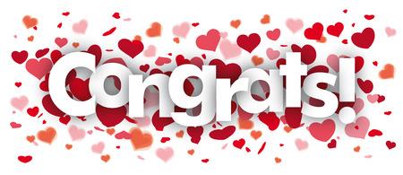 Confetti hearts with text Congrats. Illustration