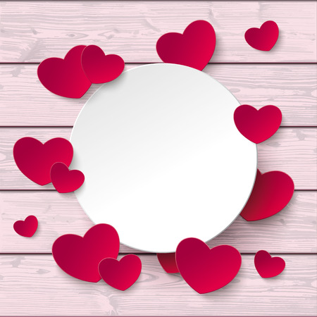 wooden circle: Hearts with white circle on the pink wooden background.