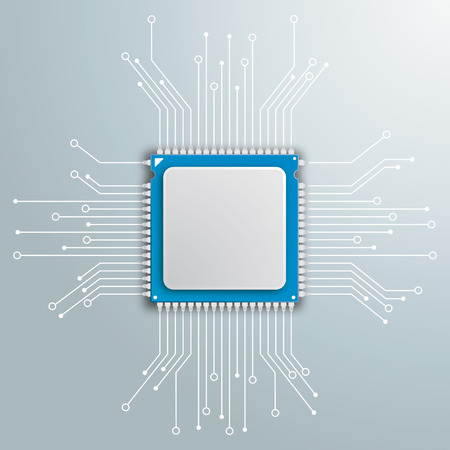 processor: Infoggraphic with futuristic processor with electronic schematicon the gray background.