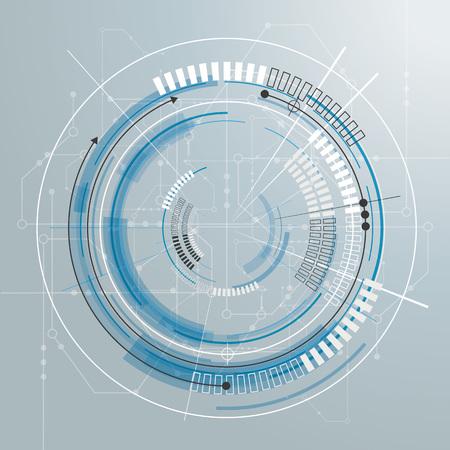 iterative: Futuristic skitch with electronic schematicon the gray background. Illustration