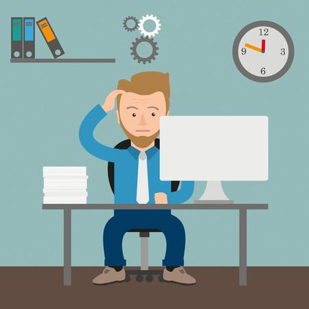 employe: Thinking businessman cartoon in the office.