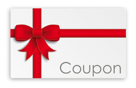 christmas bonus: Coupon card with red ribbon.
