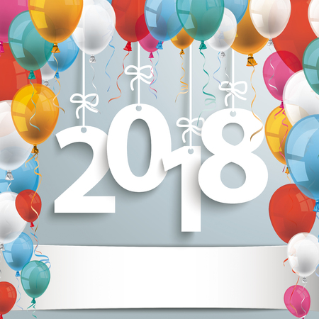 2018 with colored balloons on the gray background. Illustration