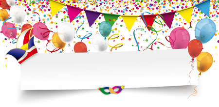 White paper banner with balloons, confetti and jesters cap. Illustration