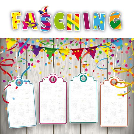 texto alemán Fasching, traducir Carnaval. EPS 10 del vector.