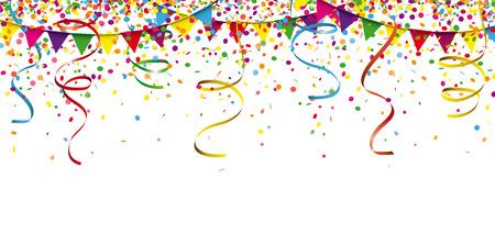 Gekleurde confetti met linten en slingers op de witte. Eps 10 vector-bestand. Vector Illustratie