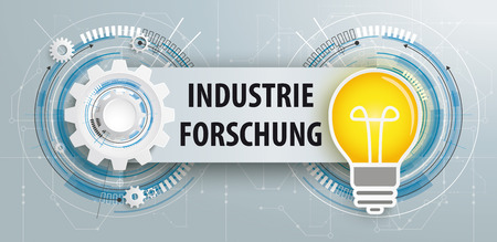 German text Industrie Forschung, translate Industry Research, Eps 10 vector file. Illustration