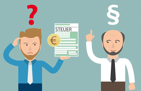 taxman: German text Steuer, translate Tax. Eps 10 vector file. Illustration