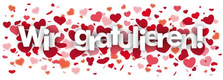 """Niemiecki tekst """"Wir gratulieren"""", tłumaczyć """"gratulujemy"""". Plik wektorowy EPS 10. Ilustracje wektorowe"""