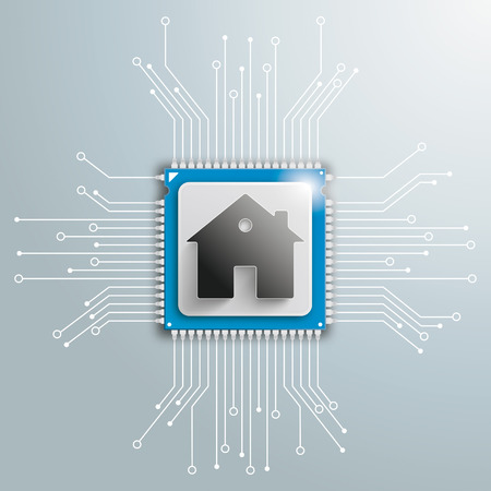 Infographic with futuristic processor with house and electronic schematicon on the gray background. Eps 10 vector file.