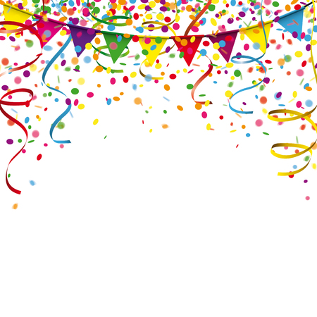 Colored confetti with ribbons and festoon on the white. Eps 10 vector file.