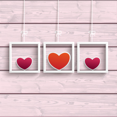 mothering: Frames with colored hearts on the pink wooden background. Eps 10 vector file. Illustration