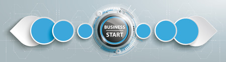 Business Start button with abstract arrows on the gray background. Eps 10 vector file.
