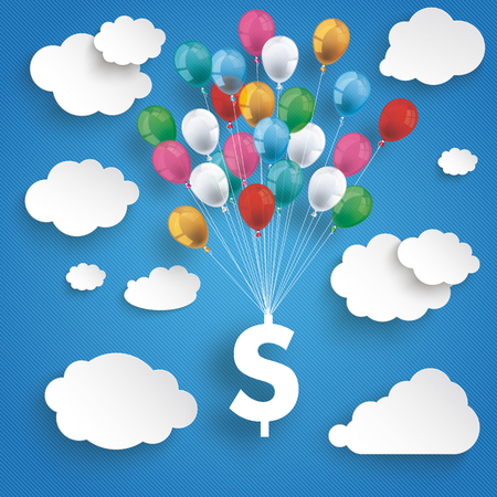 Paper clouds and hanging dollar  with colored balloons on the blue background. Eps 10 vector file.