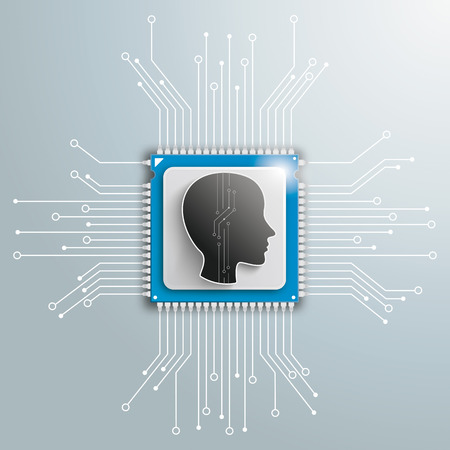 Human head and electronic schematicon on the gray background. Eps 10 vector file.