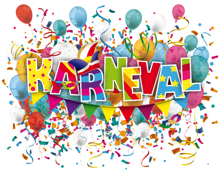 coxcomb: German text Karneval translate Carnival. Eps 10 vector file.