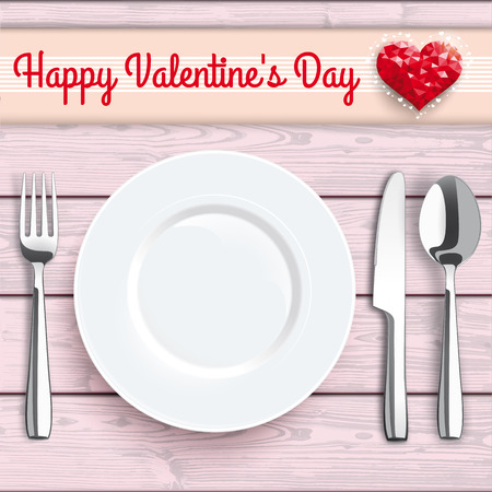 knife fork: Knife, fork, spoon and plate with, red hearts, red checked table cloth on the wooden background. Eps 10 vector file.