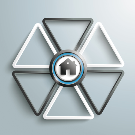 delta: White and black triangles with a house on the gray background. Eps 10 vector file.
