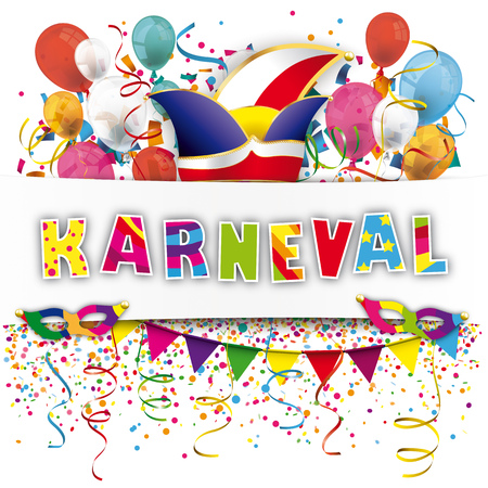 coxcomb: German text Karneval, translate Carnival. 10 vector file. Stock Photo