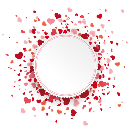 Colored confetti hearts with emblem heart on the white. 10 vector file.