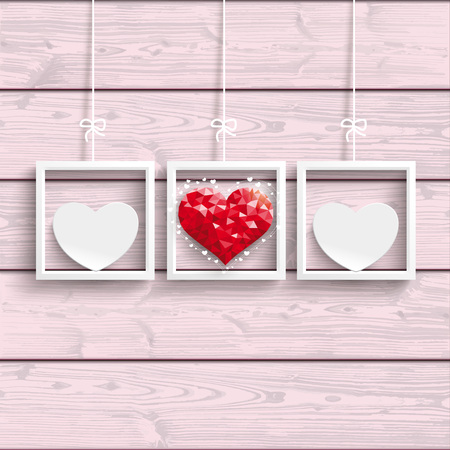 mothering: Frames with hearts on the pink wooden background. Eps 10 vector file. Stock Photo