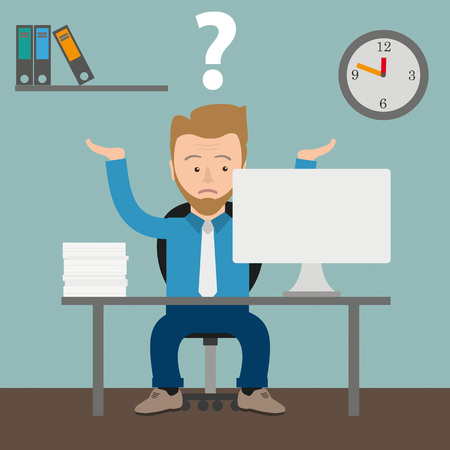 employe: Businessman cartoon with question in the office. Eps 10 vector file.