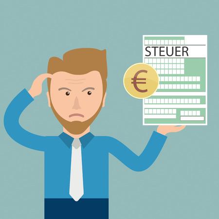 versione tedesca Steuer, tradurre fiscale. Eps 10 file vettoriale.
