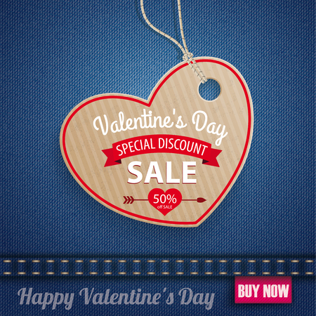 sale sticker: Blue jeans fabric with heartshape carton price sticker for Valentines Day Sale. Eps 10 vector file.