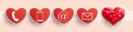 Header with contact icons and red low poly heart in retro colors. Eps 10 vector file. Illustration