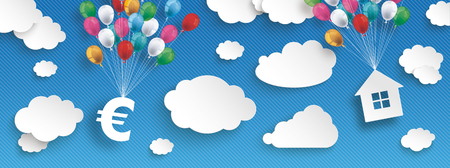 Paper clouds and hanging euro and house  with colored balloons on the blue background. Eps 10 vector file.