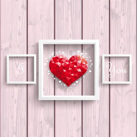 corazón poli baja con los marcos en el trasfondo de madera .. EPS 10 del vector. Ilustración de vector