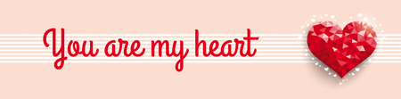 mothering: Header red low poly heart in retro colors. Eps 10 vector file.