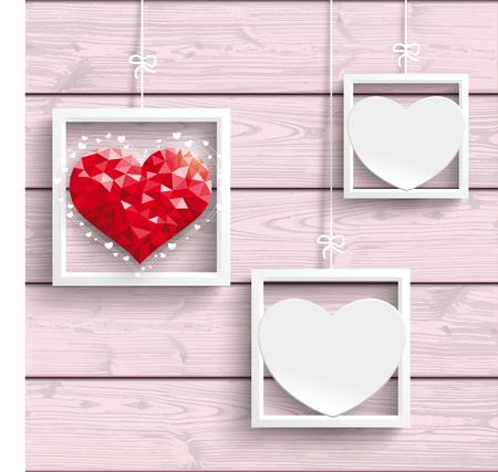 Marcos con corazones en el fondo de madera de color rosa. EPS 10 del vector.
