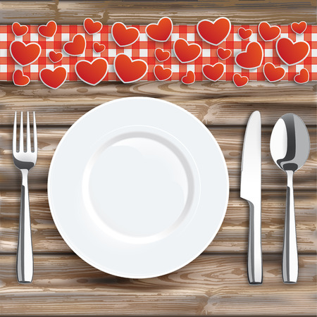 weatherworn: Knife, fork, spoon and plate with, red hearts, red checked table cloth on the wooden background. Eps 10 vector file.