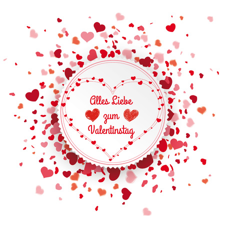 German text Alles Gute zum Valentinstag, translate Happy Valentines Day. Eps 10 vector file.