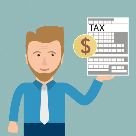 taxman: Businessman with tax form and dollar coin. Eps 10 vector file.