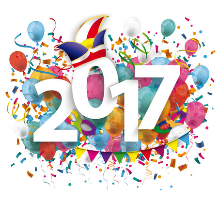 2017 with colored confetti and jesters cap on the white background. Eps 10 vector file.