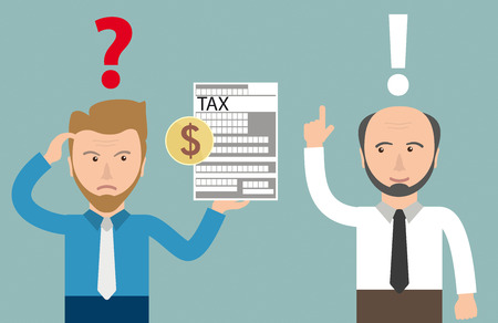 Angry businessman with tax form and accountman. Eps 10 vector file.