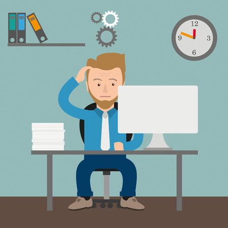 employe: Thinking businessman cartoon in the office. Eps 10 vector file. Illustration