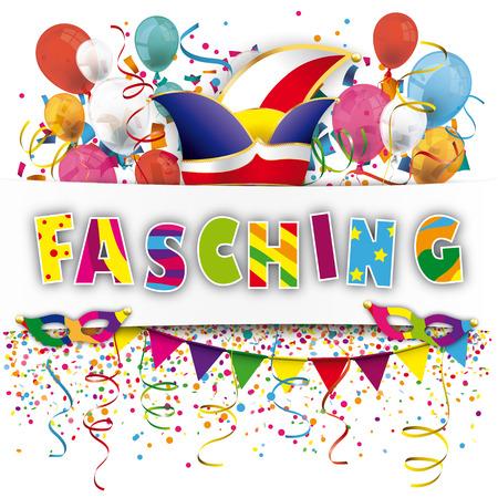 German text Fasching, translate Carnival. Eps 10 vector file. Stock Illustratie