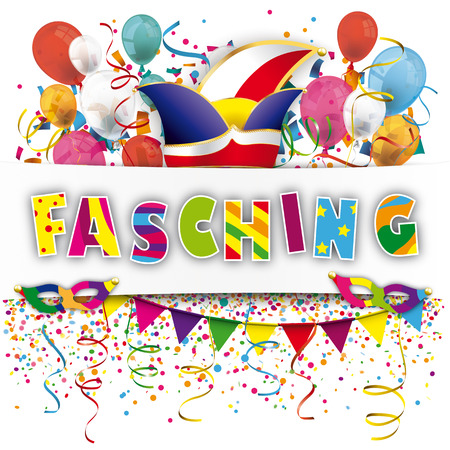 German text Fasching, translate Carnival. Eps 10 vector file. Vectores